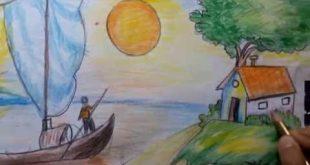 رسم منظر طبيعي سهل للاطفال , رسومات سهلة للاطفال منظر طبيعي