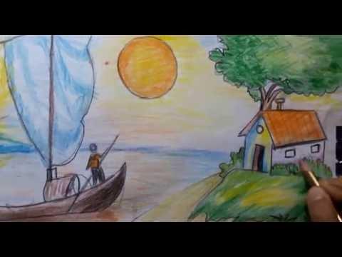 صورة رسم منظر طبيعي سهل للاطفال , رسومات سهلة للاطفال منظر طبيعي