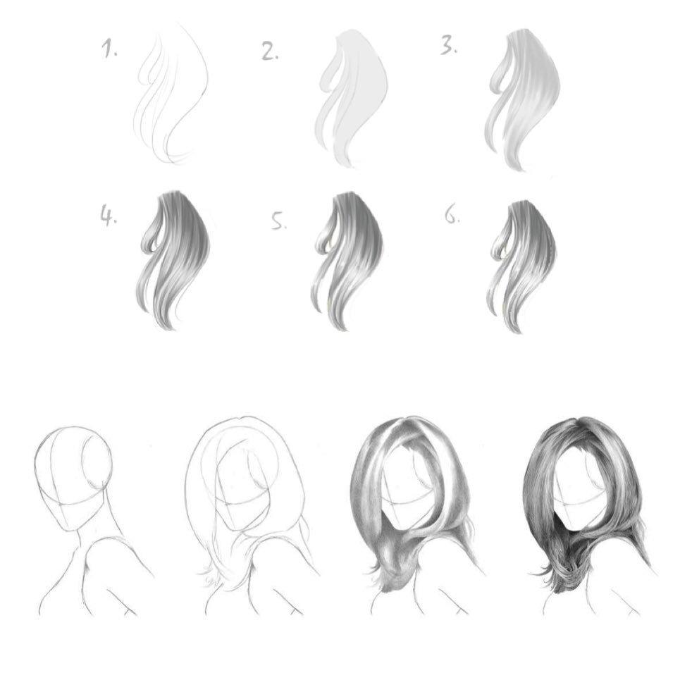 صورة تعليم رسم الشعر , كيفية رسم الشعر
