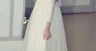 صورة فستان اوف وايت للمحجبات , احدث صيحات الموضة في فساتين المحجبات باللون الاوف وايت