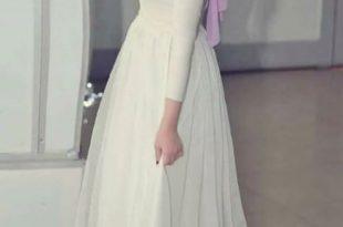 صور فستان اوف وايت للمحجبات , احدث صيحات الموضة في فساتين المحجبات باللون الاوف وايت