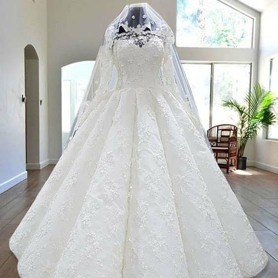 صورة اجمل فساتين للعرايس , فستان ليله العمر للمحجبات جامد جدا