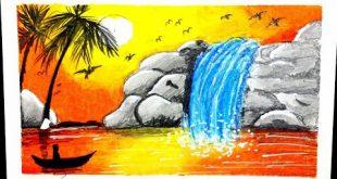 صورة جمال الطبيعه ف رسم من اديك تحفه , رسم منظر طبيعي