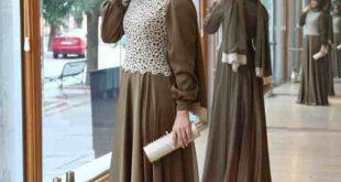 صورة اشكال فساتين محجبات خروج , احدث الفساتين للمحجبات